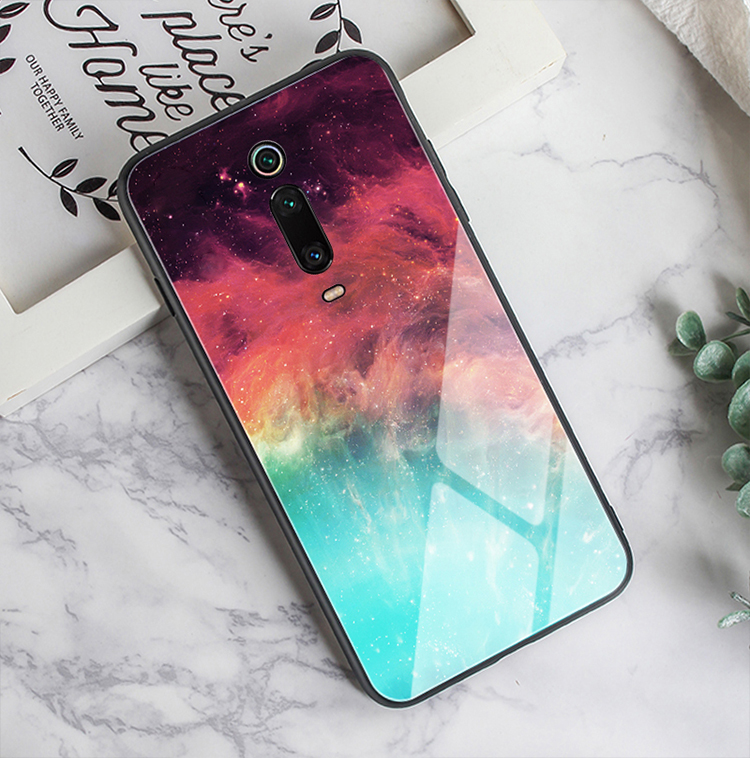 HTB1gXIvXED1gK0jSZFGq6zd3FXaw GFAITH For Xiaomi Mi 9T Case Tempered Glass Feather Print Cover With Starry Sky Design For Xiaomi Mi9T Pro Phone Case Mi 9 SE 87