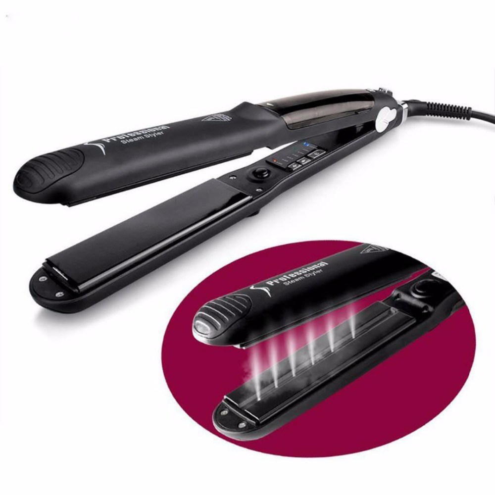 2018 explosion models ceramic hair straighteners Roll straight dual-use spray steam straightening electric splint curlers scalding hot hair straightener electric roll curlers straight coil dual use splint buckle bangs essential oils do not hurt hair