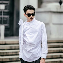 Men neckline big bowknot shirt retro fashion casual long sleeve dress shirt male stage show clothing white black C686