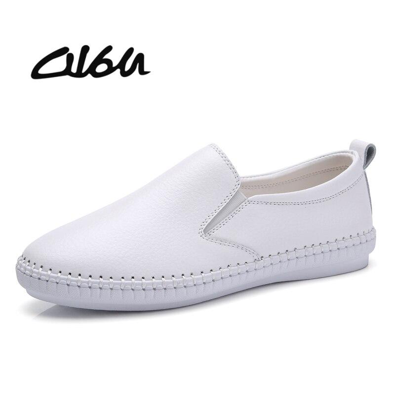 9f91f98fc4 O16U zapatos planos de talla grande de cuero de gamuza de mujer Slip on  Moccains punta