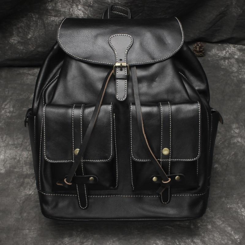 Nesitu Hohe Qualität Große Große Vintage Schwarz Braun Gemüse Gegerbtem Echtem Leder frauen Rucksack Mädchen Weibliche Reisetasche M6014 - 3