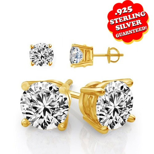 2.00 Ct Round Cut 14K Yellow Gold Over Stud Earrings With Screw Back все цены
