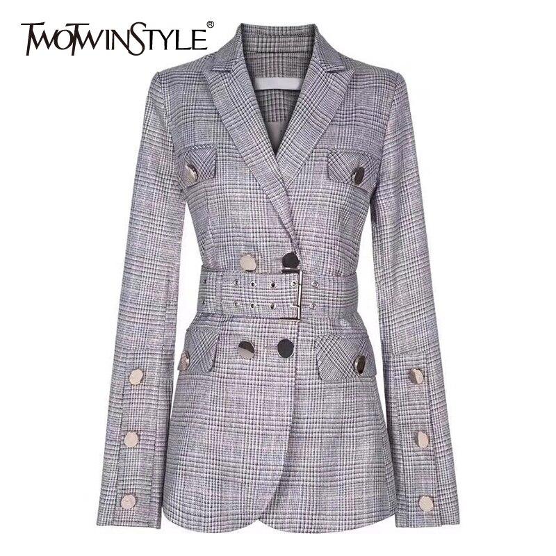 Deuxtwinstyle élégant Blazer à carreaux col cranté manches longues ceintures tunique Double boutonnage manteaux femme mode vêtements 2019