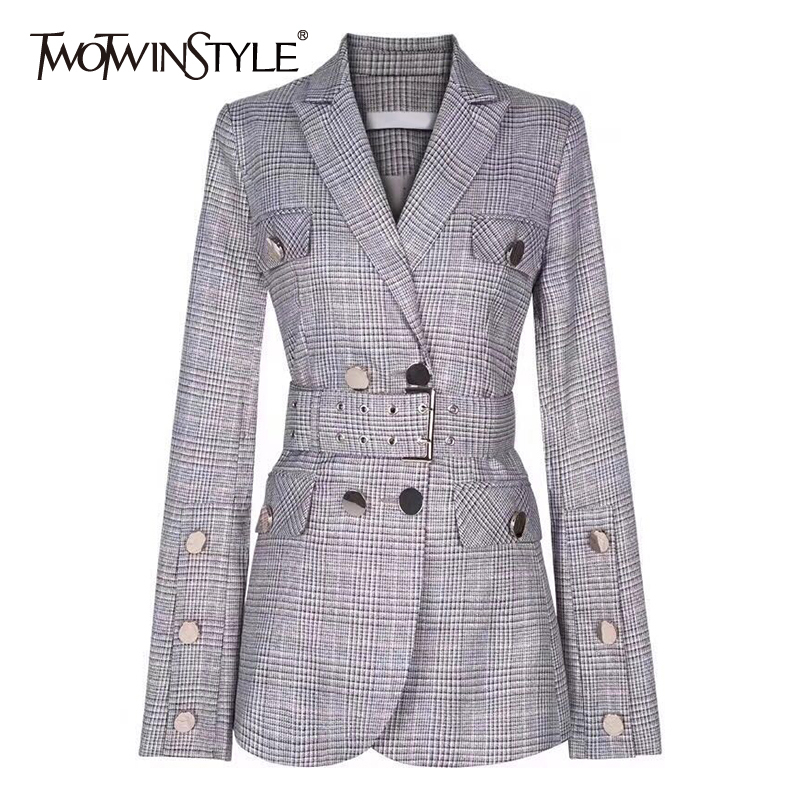 TWOTWINSTYLE Elegant Plaid Blazer Notched Collar Long Sleeve Sashes Tunic Double Breasted Coats Female Fashion Clothing 2019