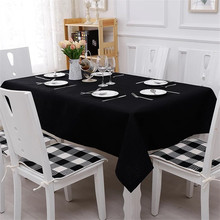 Solid Color Black Tablecloth Simple Modern Hotel table Cloth Rectangular Cotton Linen Fabric Table Cover for Kitchen