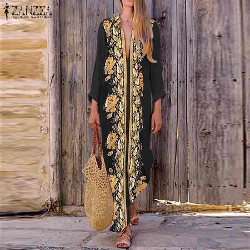 2020 ZANZEA bohème imprimé Maxi robe femmes d'été col en V robe de soleil fendue longue Vestidos femme Vintage robe florale grande taille