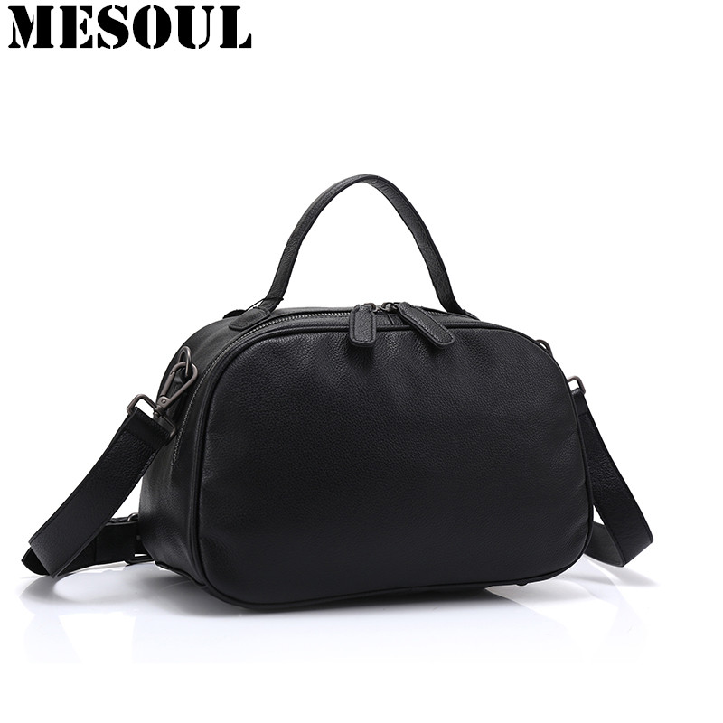 Boston Designer Genuine Leather Female Handbag Fashion Simple Messenger Bag Women Shoulder Bag Larger Top-Handle Bags Travel Bag leftside fashionable 2017 women tassel designer rivet boston bag female handbag woman hand bags shoulder bag with wide strap