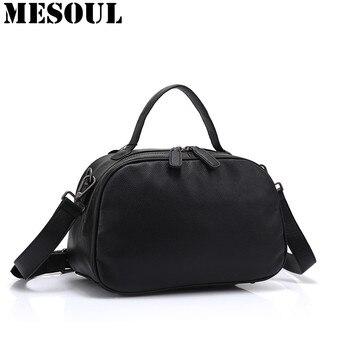 Boston Designer Genuine Leather Female Handbag Fashion Simple Messenger Bag Women Shoulder Bag Larger Top-Handle Bags Travel Bag