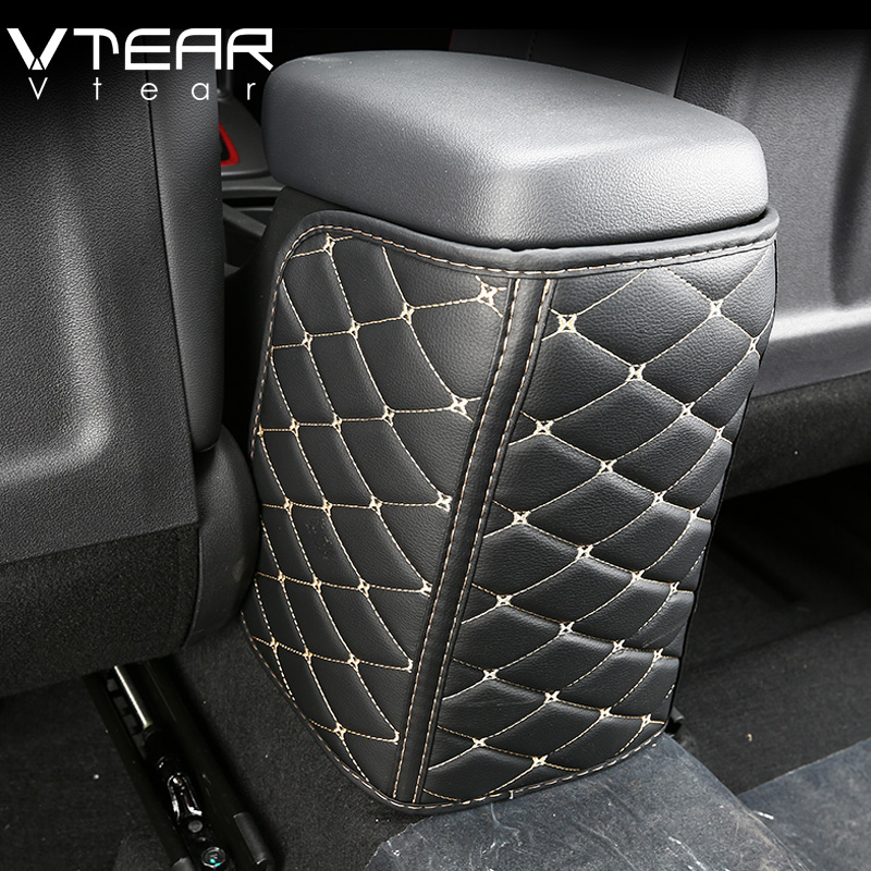 Vtear For Hyundai Kona Encino 2018 2019 Accessories Car Seat Armrest Anti-kick Pad Leather Protective Case Car Anti-dirty Mat