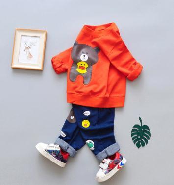 2019 Primavera Novas Crianças Meninos de roupas Longo-sleeved Terno Crianças Camisola para uma Menina Two-piece Bebê roupas Definir QHQ047