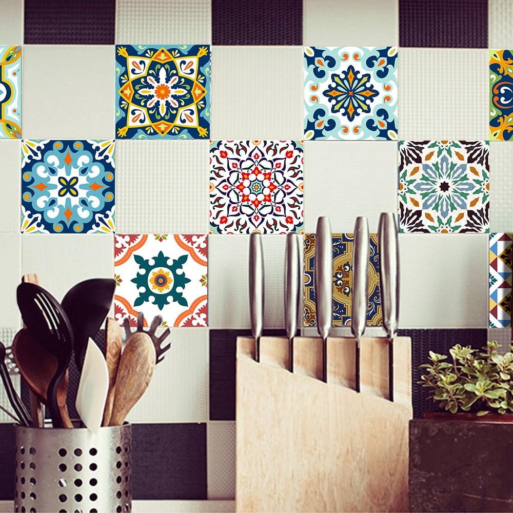 Funlife Mediterranean Style Flowers Pearl Film Tile Stickers Bathroom Living Room Waterproof Pvc Wall Stickers