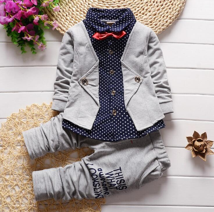2017 New Gentleman Style Baby Boys Clothing Set Spring Autumn Shirt+Pants 2PCS Formal Birthday Suit Outfits Kids Clothes fashion new spring autumn baby boy clothes set vest tie plaid formal blouse shirt pants suit kids boys clothing gentleman set