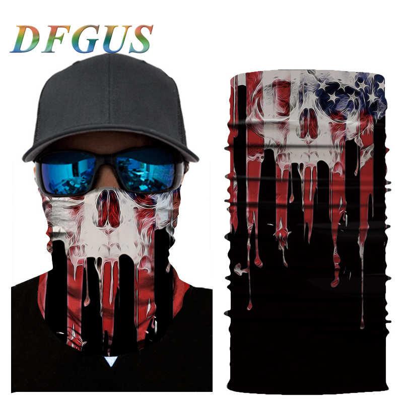 3D Senza Soluzione di Continuità Balaclava Collo Magia Viso Maschera Camouflage Moto Fantasma di Scheletro Del Cranio Testa Scudo Durag Uomini Bandana Sciarpa