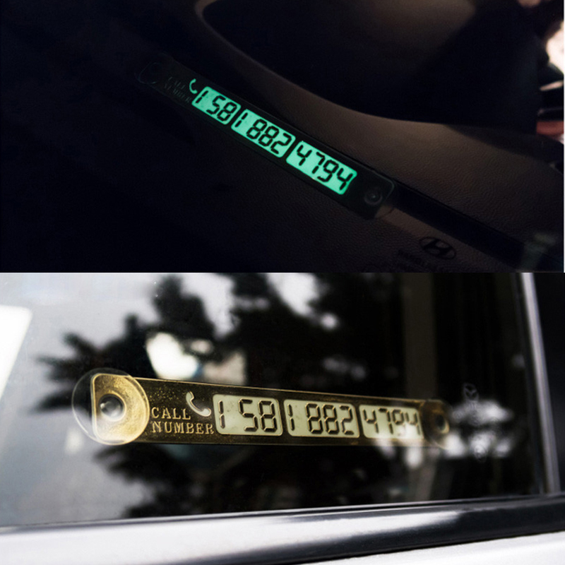 1Pcs Car Stickers Temporary Parking Card Notification Night Luminous Sucker Plate