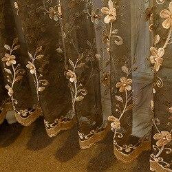 Europejski perłowy haft kwiat beżowy Sheer Voile Cortinas do salonu kawa kurtyna tiul na balkon do sypialni