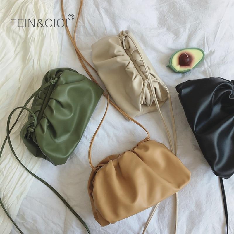 Pouch Bag Evening Party Cloud Shape Purse Women Ruched Messenger Crossboday Bag Small Pillow Bag Summer Bag White Black Green