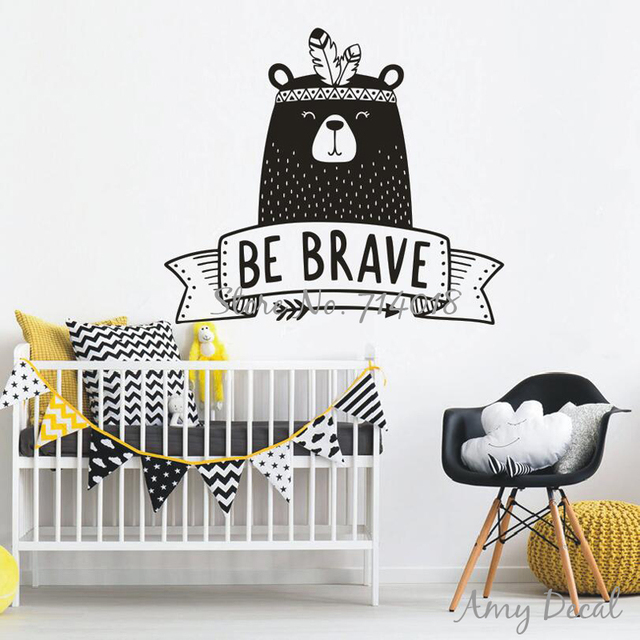 be brave wall decal cute tribal bear wall sticker for kids room baby