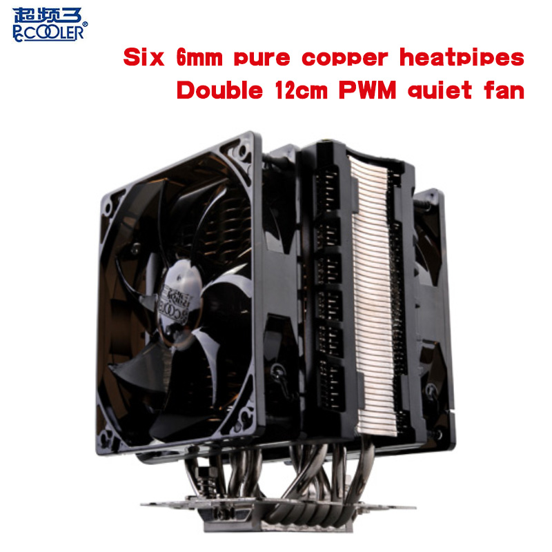 Pccooler CPU cooler Double/Dual 12cm led PWM quiet fan 6 heatpipes computer PC cpu cooling radiator fan cpu fan  AMD and Intel 1 piece jonsbo fr 201p 120mm pc case cooler cpu fan radiators computer cooling fan led light 4pin pwm for intel amd diy mod