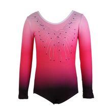 Трико для девушек балетное платье балетки гимнастическое леопардовое трико с длинным рукавом в градиентном Цвет одежда, костюмы для танцев, костюмы
