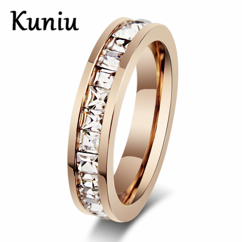 Fashion Rose Gold Color Single Row Zircon Rings for women stainless steel wedding rings Dropshipping