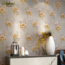 beibehang papel de parede. Pink/Yellow/Purple/Blue Modern Flower Printed Wall paper Modern Floral Wallpaper roll for Bedroom
