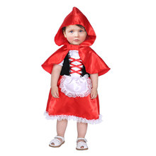 Toddler Infant Little Red Riding Hood Costume Cosplay for Baby Girls Halloween New Year Carnival Party Fancy Dress