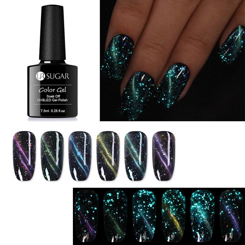 UR SUGAR 7 5ml Luminous Cat Eye UV Gel Polish Glow in The Dark 3D Magnetic Soak Off Nail Art Gel Lacquer in Nail Gel from Beauty Health