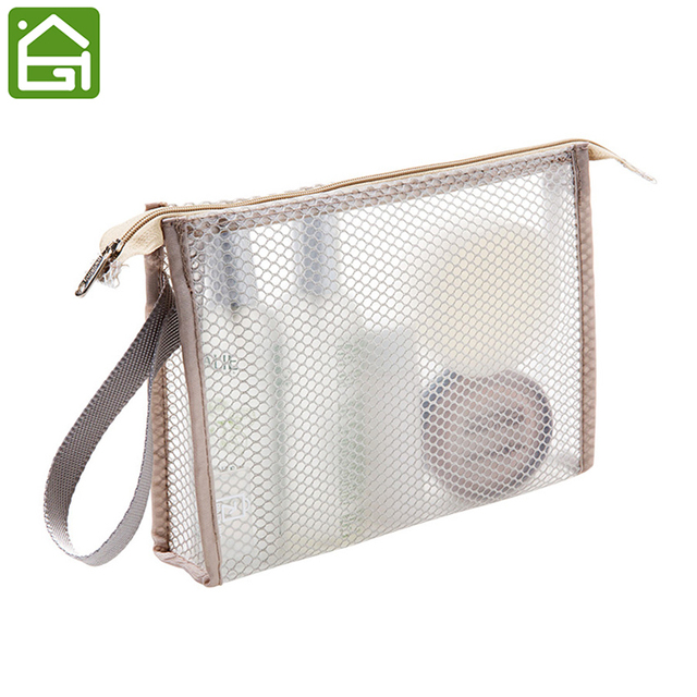 Clear Travel Toiletry Sundry Bag With Strap Fashionable Waterproof Pvc Cosmetic Organizer Bags