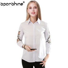 SPARSHINE Floral White Embroidery Blouse Women Tops Blusas Mujer De Moda 2017 Collar Long Sleeve Shirt Casual Femlae Blouses