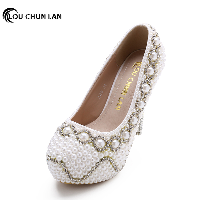 Shoes Women's Shoes Pumps White Wedding Shoes Full rhinestone and pearls Bride Shoes High Heels platform bridesmaid fashionshoes sweet girls pink rhinestone and ivory pearls diamond wedding high heels shoes graduation ceremony party pumps drop shipment