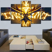 Home Decor Painting On Canvas Printed 5 Pieces Animation Pokemon Poster Dragon Spirit Modular Picture Wall Art For Living Room