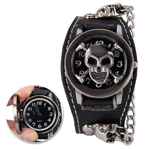 Men Black Punk Rock Chain Skull Faux Leather Bracelet Cuff Gothic Wrist Watch