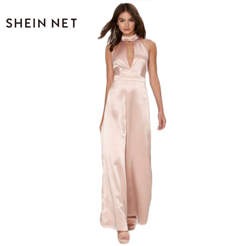 5e17ca6244cb Popular Pink Jumpsuit-Buy Cheap Pink Jumpsuit lots from China Pink ...  Sheinnet Hollow Out Backless Romper Female Elegant Halter ...