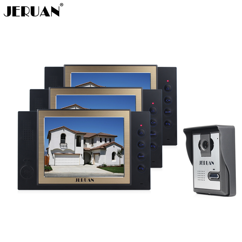 JERUAN 8 inch video door phone intercom system doorbell 1 camera 3 monitors video recording photo taking free shipping jeruan 8 inch video door phone high definition mini camera metal panel with video recording and photo storage function