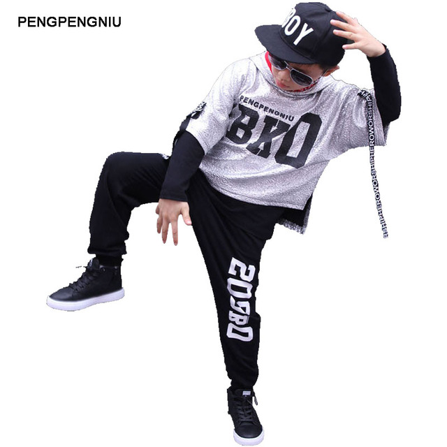 pengpengniu boys hip hop outfit kids streetwear girls