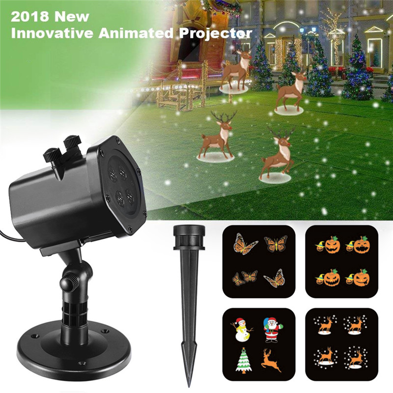Innovative Animated Halloween Christmas LED Projector Lamps Outdoor Waterproof Snowflake Laser Projector Light Home Garden Decor christmas heart snowflake halloween spider bowknot projector lights led stage lamps