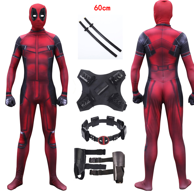 Movie Deadpool 2 Wade Winston Wilson Adult Spandex Lycra Cosplay Costume Zentai Bodysuit Suit Jumpsuits Customized Accessories