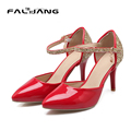 New elegant Women High Heels Women Pumps Thin Heel poined Toe shiny glitter women dress Shoes large size 34-43