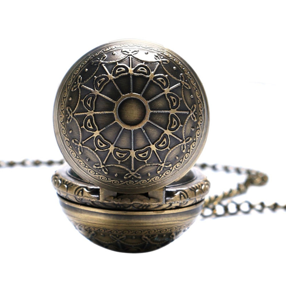 Bronze  Spider Web Design Small Size Ball Shape Pocket Watch Men Necklace Birthday Gift Clock Reloj De Bolsillo
