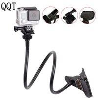 QQT Desktop Flexible Clamp Hinge Collar Extension Tripod Mount Go pro for Hero 6 5 4 3 sj4000 yi 4 k h9 Camera Accessories