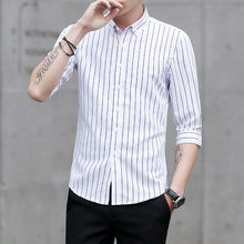 MRMT 2019 Brand New Spring and Summer New Men's Shirt Stripe Seven-minute Sleeve Shirt for Male Trim Tops Shirt(China)