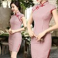 Women's Cheongsam Cotton Linen XXL  plaid