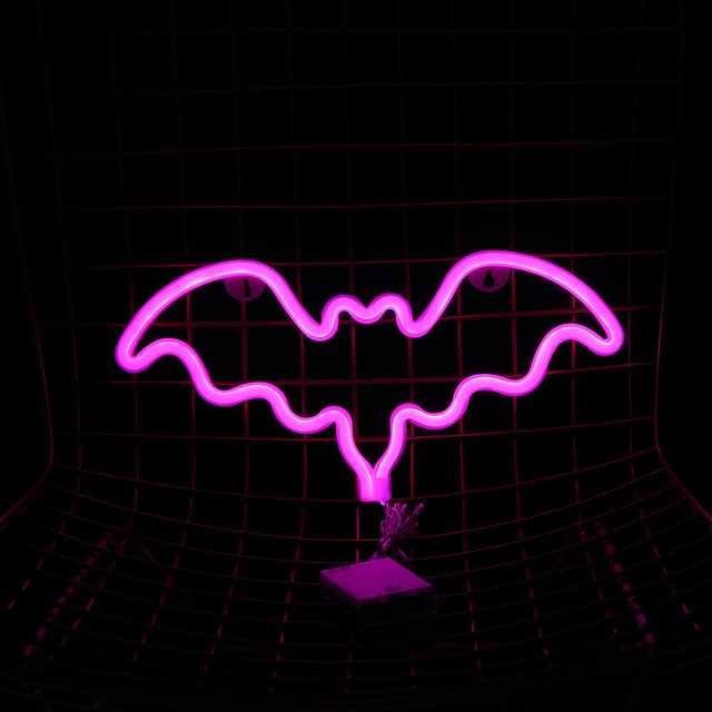 2018 New Pink Bat Signs Neon Wall Lights Home Decor Room Bedroom Bar Party Supplies Decorative