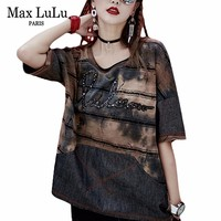 Max LuLu 2018 Summer Fashion Korean Girls Tops Tee Shirt Womens Denim T Shirts Camisetas Mujer