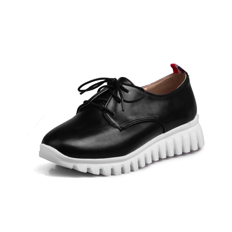 Hot Sale Plus big and small size 29-46  Womens  Round Toe Patent Leather Platform Shoes  Lace up Casual shoes Brogue Shoes 8086 punk platform creepers shoes womens round toe patent leather block high heel pumps lace up riding ankle boots shoes plus size