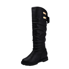 Women shoes New Over The Knee Boots High Black Boots Women Motorcycle Flats Long Boots Low Heel Leather Shoes