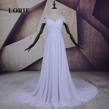 LORIE Off Shoulder Beach Wedding Dresses 2017 Short Sleeve Vintage Lace Chiffon Backless China Custom Made Real Bridal Gowns