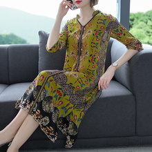 2019 New Vintage Floral Silk Chinese Style Midi Dresses Summer Plus Size Loose Print Beach Sundress Elegant Women Party Vestidos
