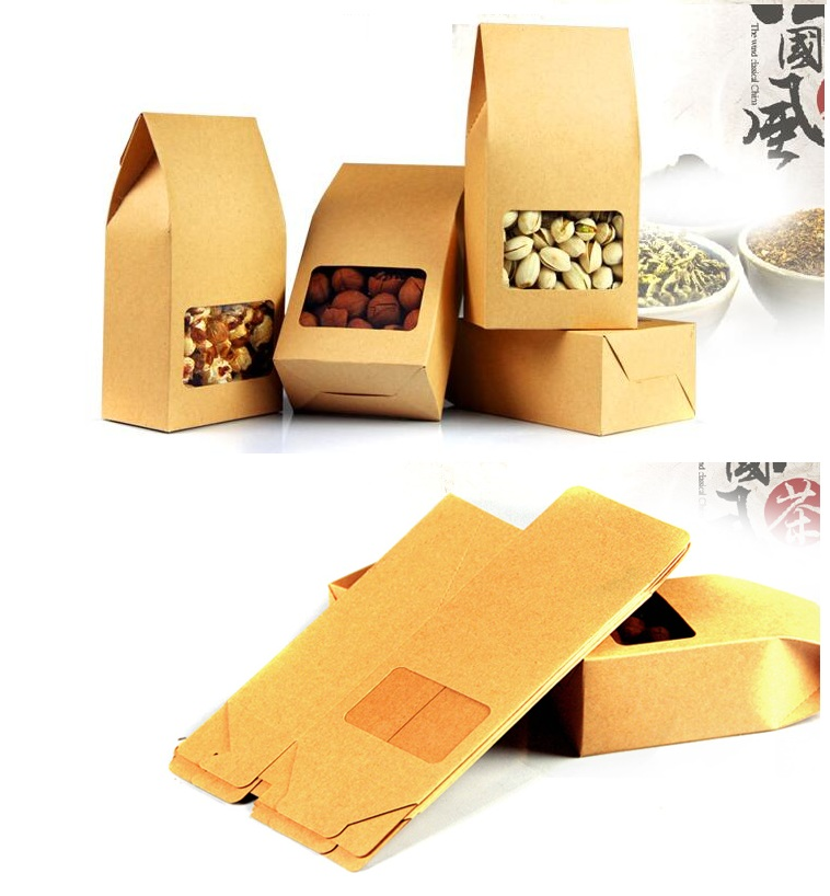 8 5 15 5cm Small Kraft Food Tea Packaging Box Coffee Bean Baking Dessert Paper Bag Pvc Window
