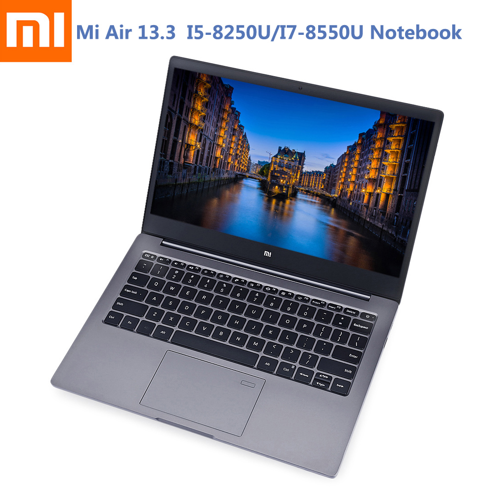 цена на Xiaomi Mi Notebook Air 13.3 Ultra Thin Windows 10 Intel Core I5-8250U/I7-8550U Quad Core 8GB+256GB Fingerprint Dual WiFi Laptop